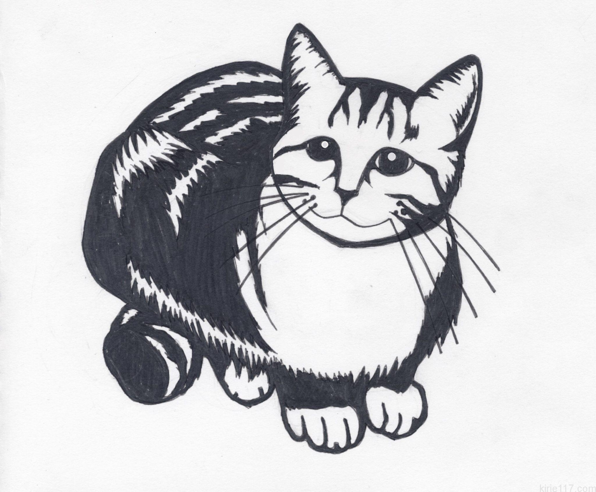 無料の切り絵の図案 かわいい猫編難易度初級中級