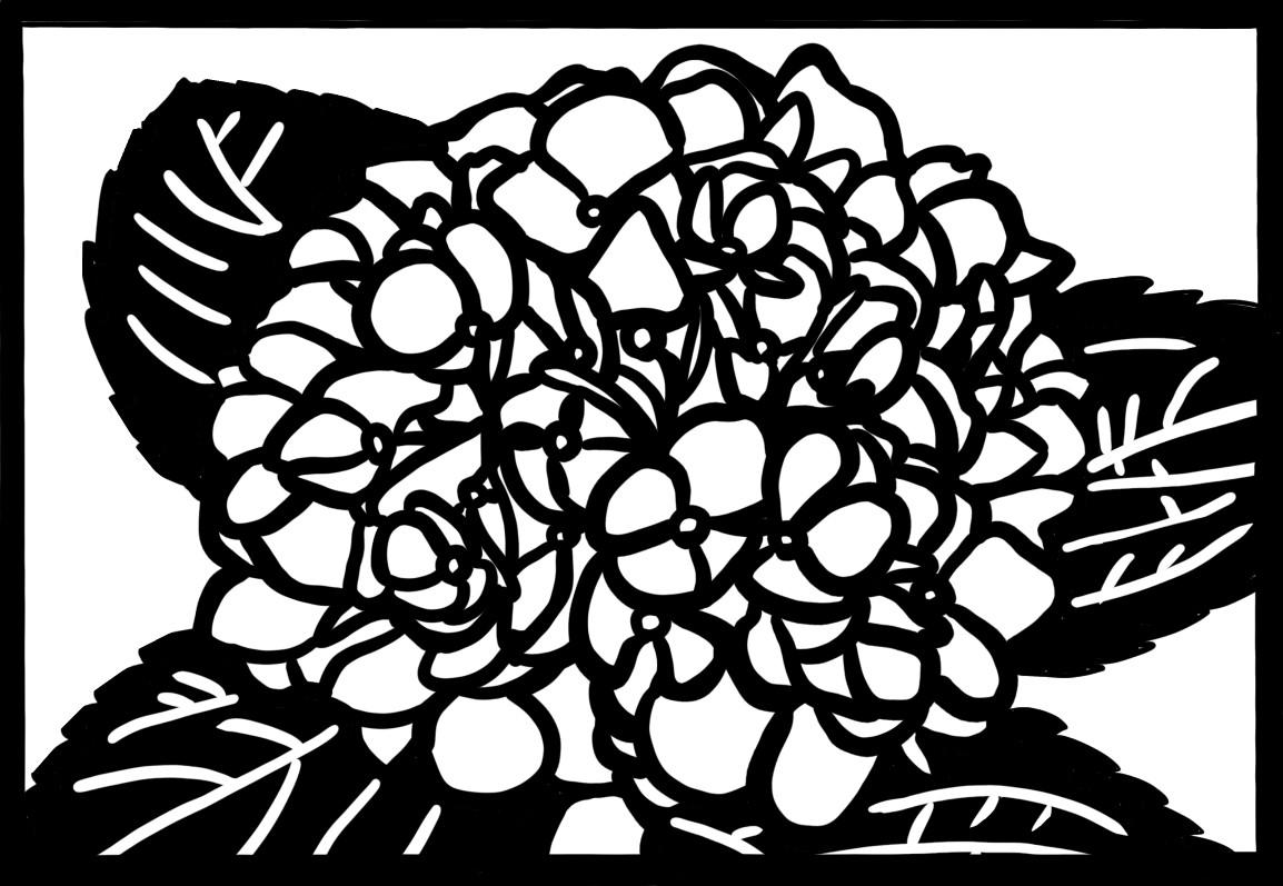あじさい 紫陽花 切り絵 図案 下絵